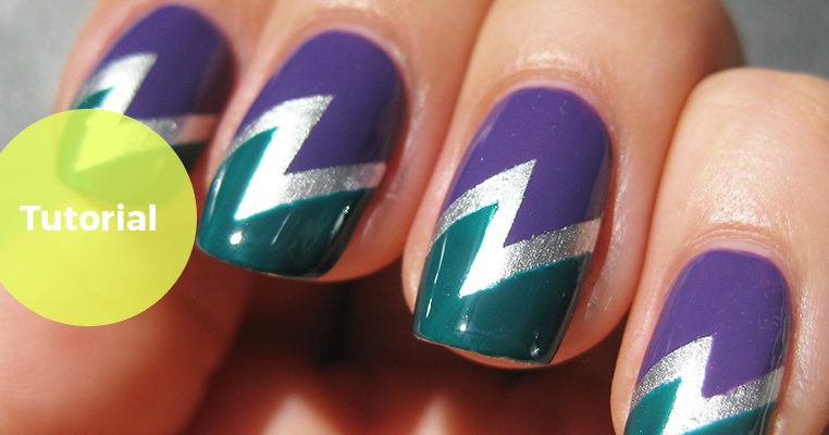 Tutorial: Double lightning bolt tape mani
