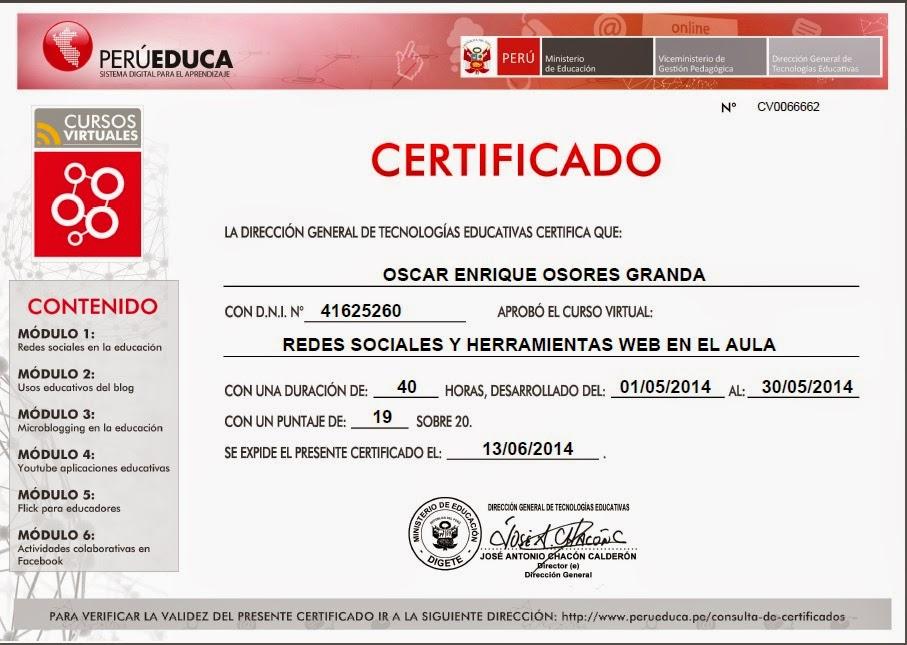 Informaci n personal ministerio de educaci n del per for Certificado ministerio del interior