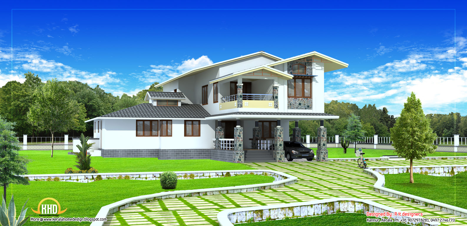 2 story house plan 2490 sq ft kerala home design and for Two story house plans