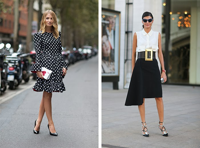 street style fashion week spring 2014, black and white, pois