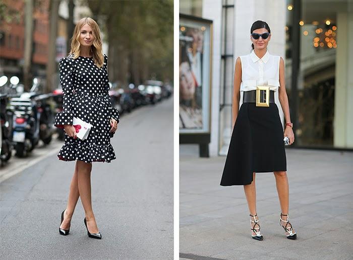 street style fashion week spring 2014, black and white, pois