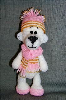 Мишка из бисера игрушка амигуруми