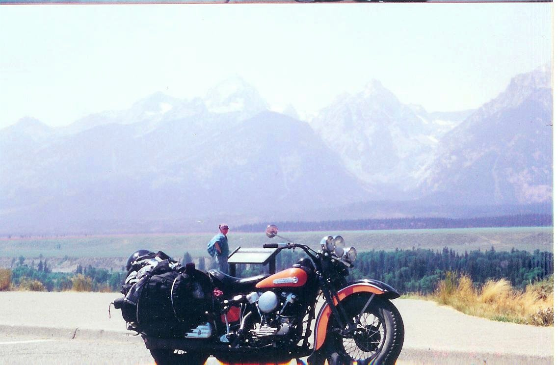 Stock 1947 Harley Knucklehead Motorcycle at the Grand Tetons