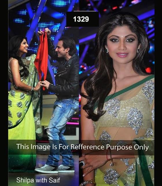 shilpa-shety-green-light-yellow-saree-with-saif