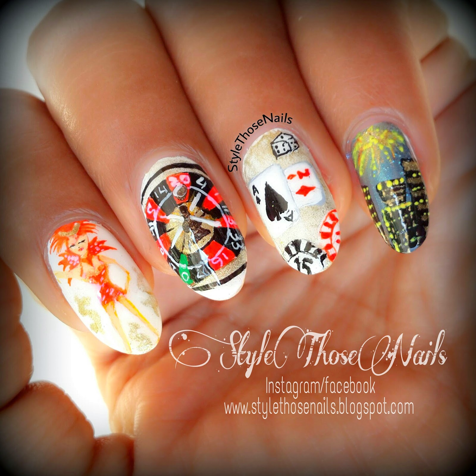 Vegas Inspired Nail Art: Viva las vegas nails nailart nailed by deshea.