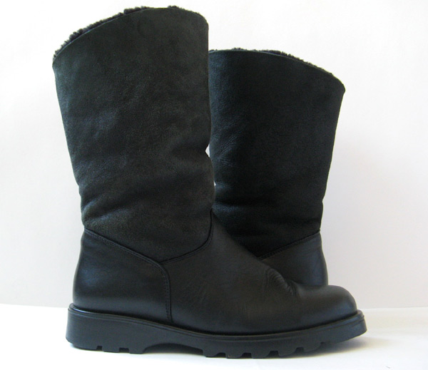 closet sheepskin boots black leather winter boots