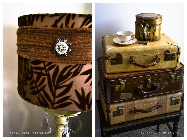 Snooping inside junker Bella Rustica Linda's house via Funky Junk Interiors - stacked luggage and lamp