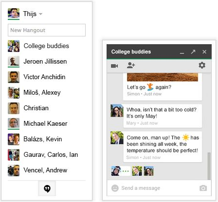 Google+ Hangouts Chat Application in Gmail