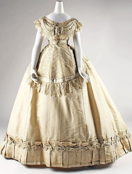 Vintage Champagne Embroidered Steampunk Victorian Dress
