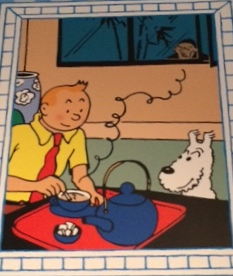 Picture of Tintin and Snowy in foreground wiht teapot and teacup, man watching from window in background