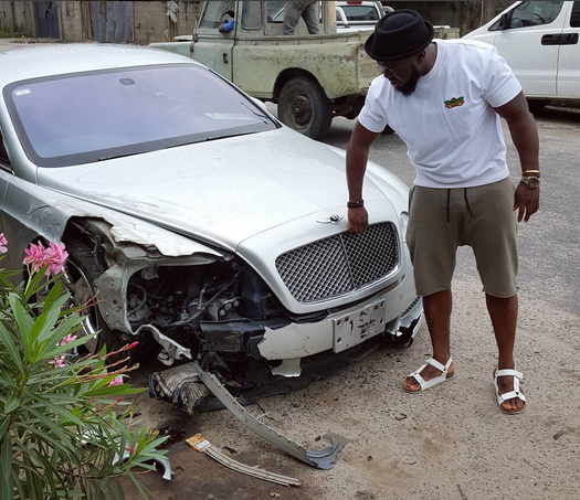 Timaya smashes Bentley, escapes unhurt, view pic!
