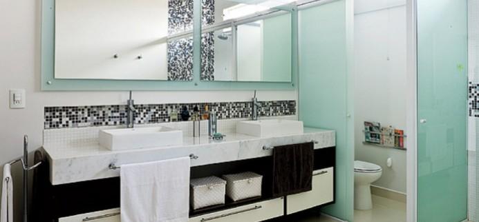 Casa Nova Inspiração para louça e decoração dos banheiros Adoro esse deta -> Banheiros Com Pastilhas Em Cima Do Vaso