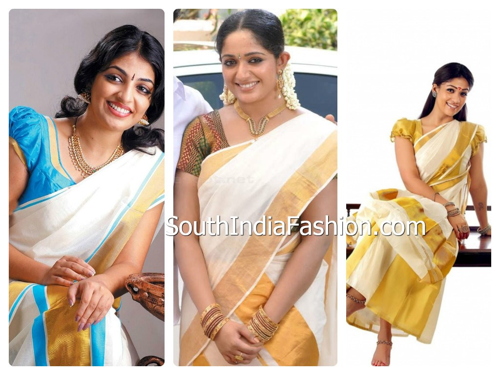 Kerala Sarees Online Shopping http://www.southindiafashion.com/2013/05/celebrities-in-kerala-traditional-sarees.html