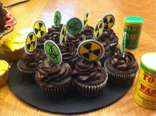 Biohazardous and Radioactive Theme Cupcakes