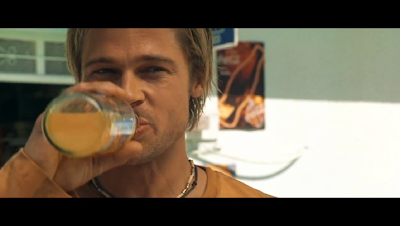 brad pitt enjoying orange juice