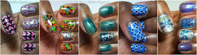 Negative Space Stamping over Pink on Pink Shatter, Rainbow Graffiti Mani, Teal and Gold Crackle Sandwich, Blue Crackle Dotticure, and the Dragonfly Double Crackle Mani