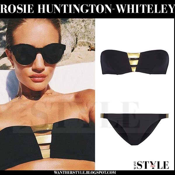 Rosie Huntington-Whiteley in bandeau bikini with gold straps from Eres what she wore beach style