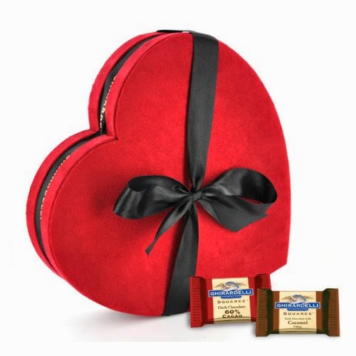 Ghirardelli Chocolate Large Red & Black Heart Gift Box with SQUARES Chocolates, 32 pcs