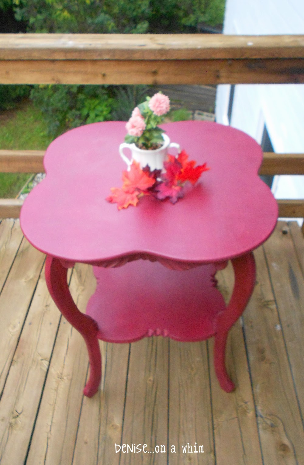 The unique Shape on an Antique Table Makeover from Denise on a Whim
