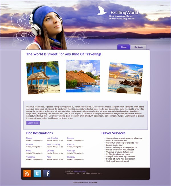 Exciting World - Free Drupal Theme