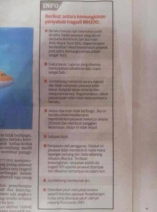 Misteri kehilangan pesawat MH370