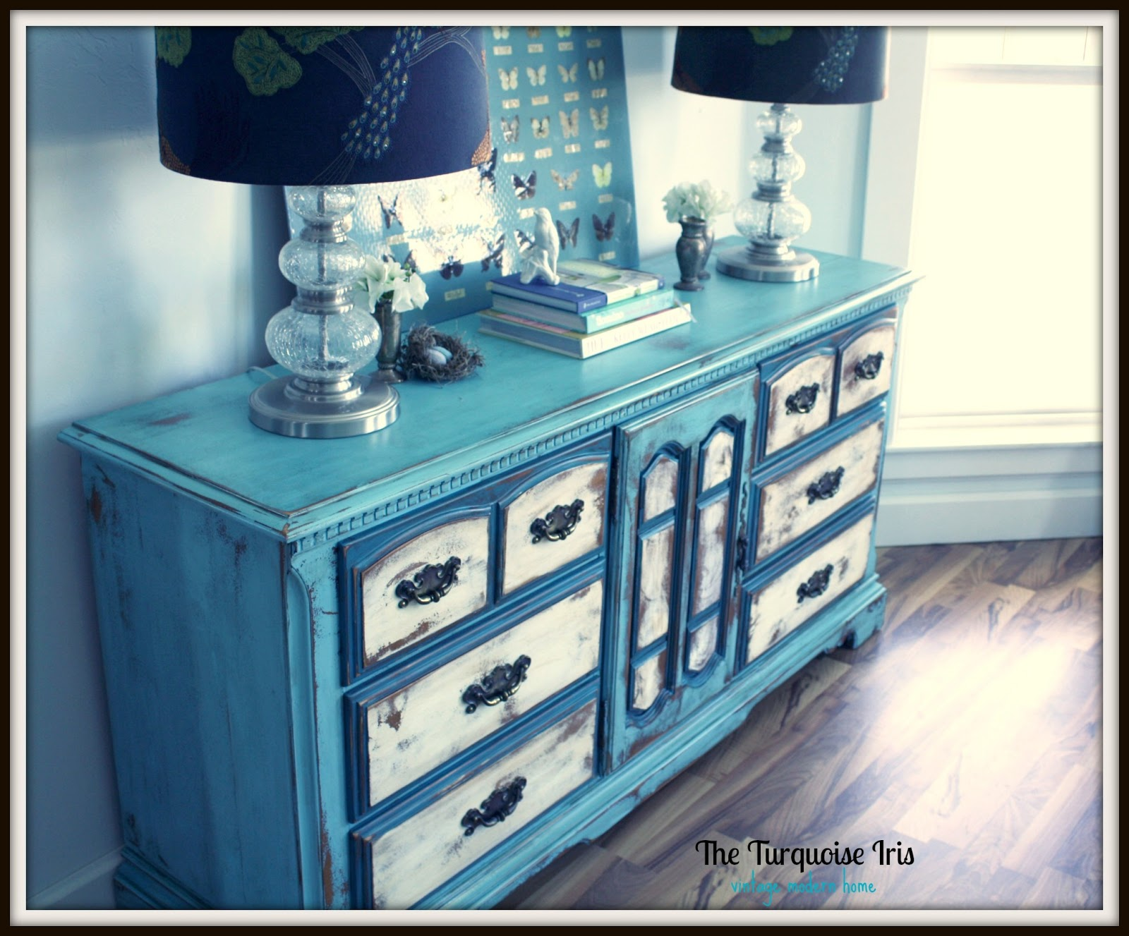 Robinu0027s Egg Blue, Creme U0026 Teal Triple Dresser