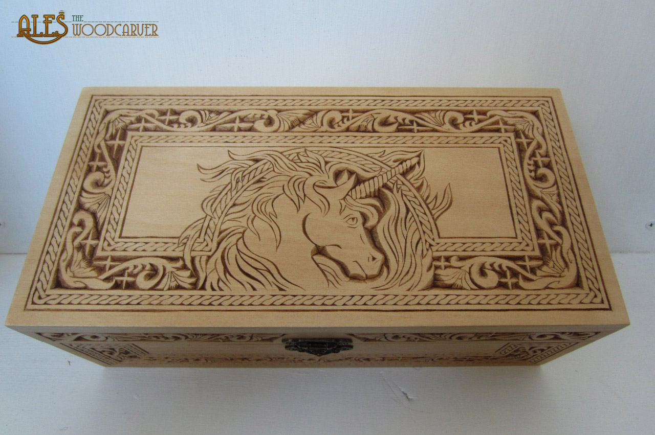 Ales the woodcarver large basswood box chip carving