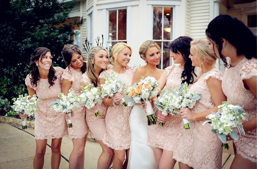 Pink lace bridesmaids dresses