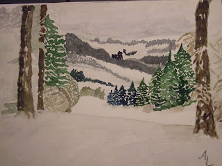"very first watercolor painting - view into the ""Wolfsschlucht"" near Prüm"