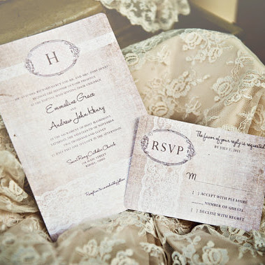 Shabby Chic Wedding Invitations Vintage Romantic Antique Lace and Rustic