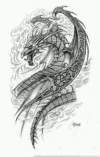 Tatoos y Tatuajes de Dragones en Blanco y Negro, parte 3