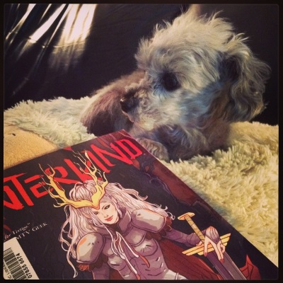 A sleek grey poodle, Murchie, lays on a fuzzy white pillow with his head twisted so he appears in profile. In front of him and at any angle is a trade paperback copy of Hinterkind: The Hot Zone. Its red-toned cover features a pale-skinned, silver-haired woman wearing armour and crowned with antlers. Her left hand rests on the hint of a thick sword.