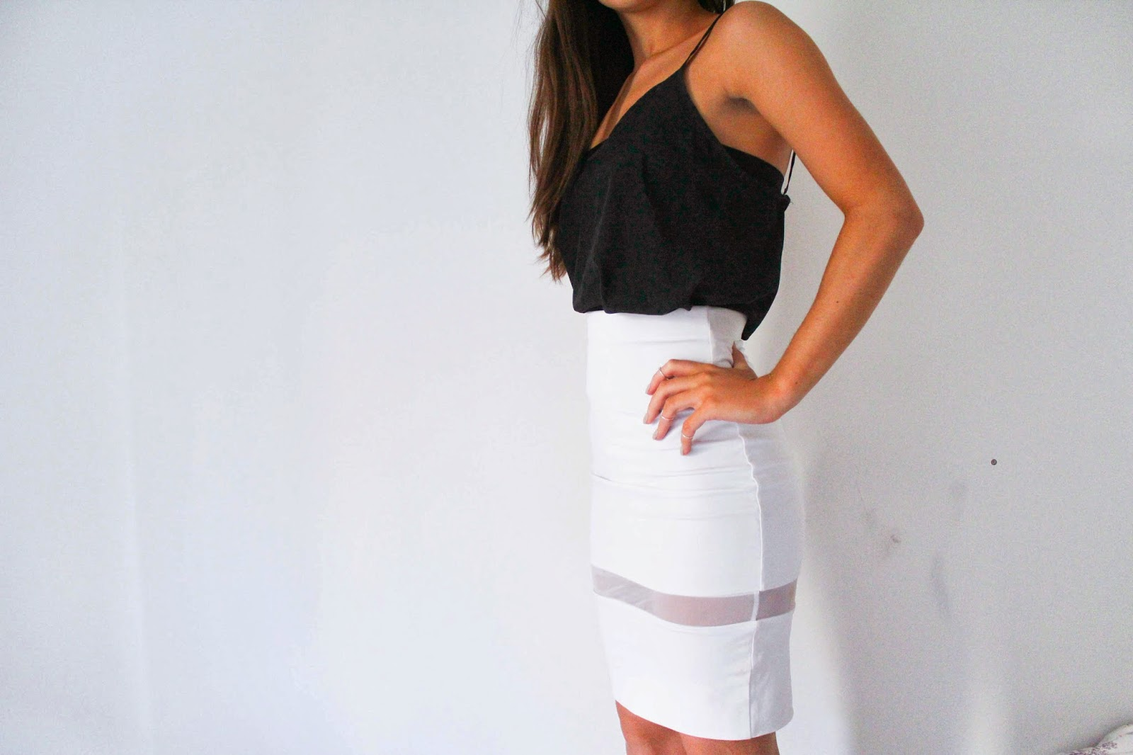 monochrome zara white pencil skirt connected with fashion