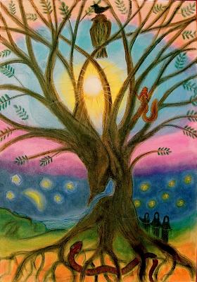 """Die Weltenesche """"Yggdrasil"""" 110x70 Kreide auf Leinwand Für die 6. Klasse der Waldorfschule"""