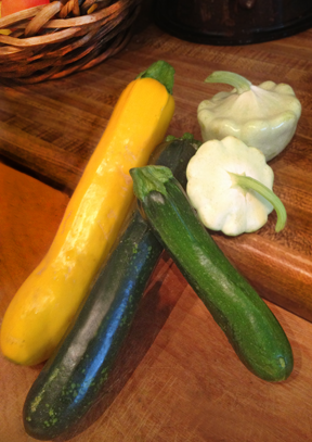 Zucchini, yellow squash and pattypan squash ready to be prepared for the grill.