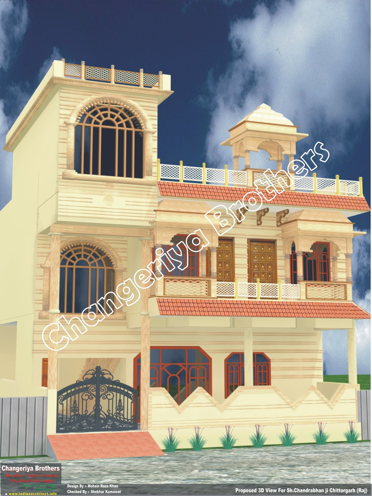 Front Elevation Designs For Houses In Rajasthan : Rajasthani stayle dhopur design elevation d naksha