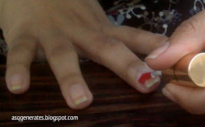 add white polish to the tip of the nail
