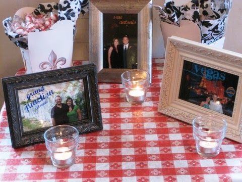 As part of the table decorations they had framed pictures of Jeff and I from