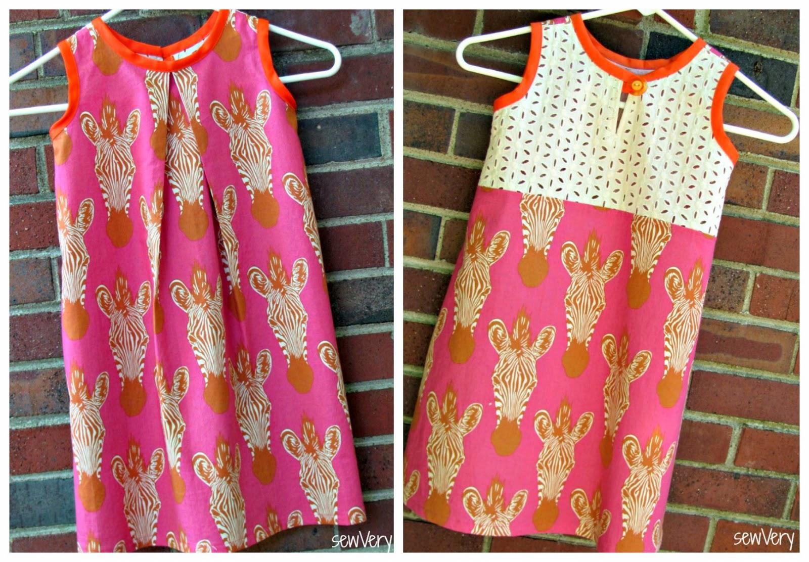 Simple children's A-line dress with zebra and ecru eyelet fabrics