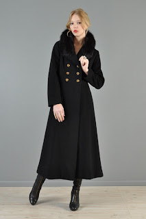 Vintage 1970's back cashmere princess maxi coat with fox fur collar and gold buttons