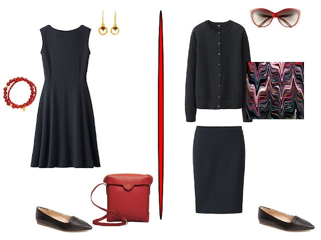 two simple black outfits with red accessories