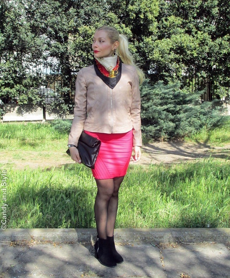 BikerJacket+Scarf+MiniSkirt+AnkleBoots+Pouch+HighPonytail+RedLips - Lilli Candy and Style Fashion Blog