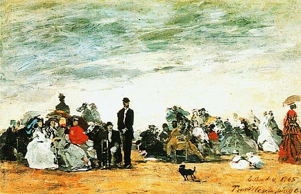 Эжен Буден. Пляж в Трувиле. 1865.