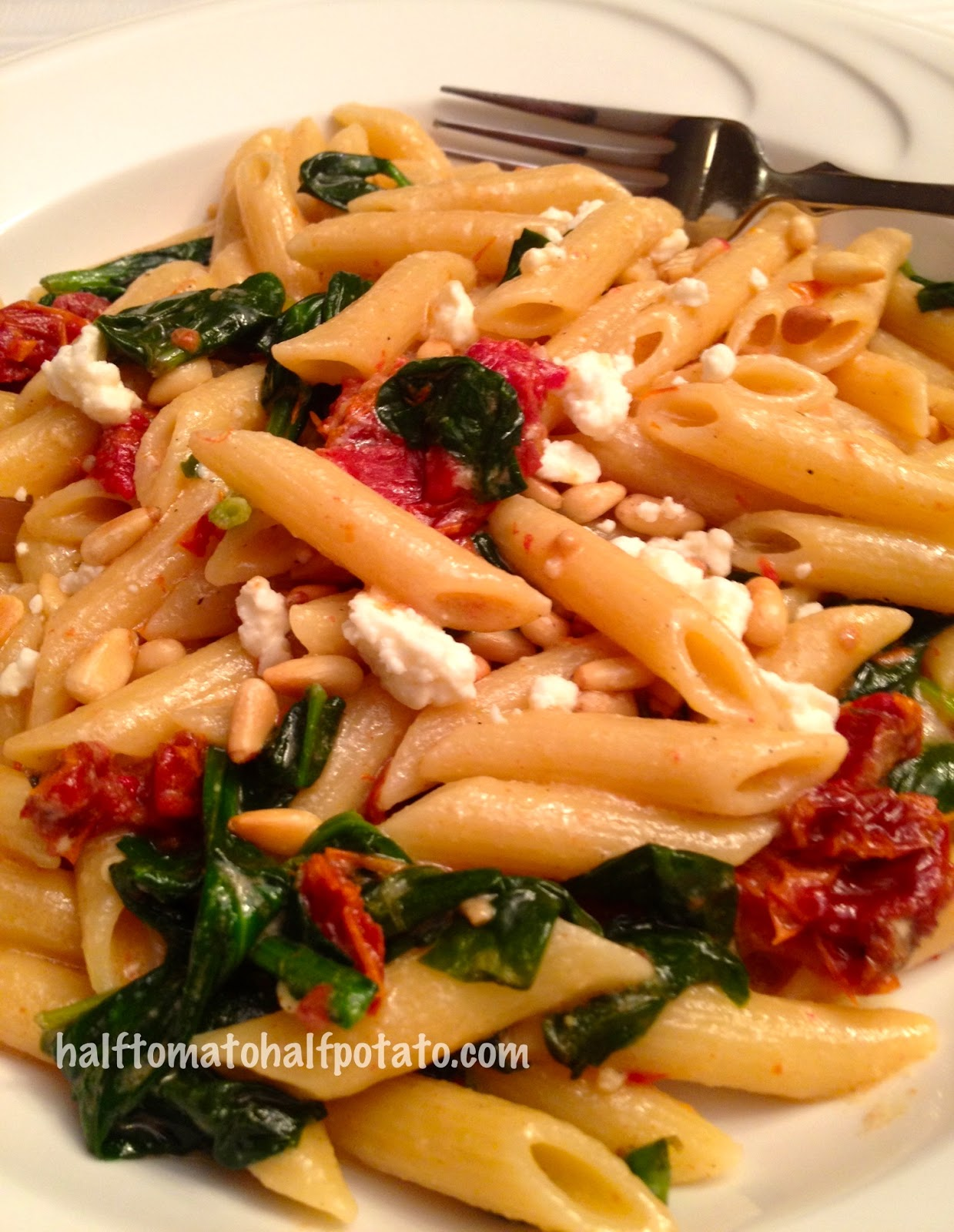Spinach And Sun-dried Tomato Penne Pasta Recipe — Dishmaps