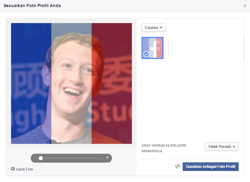 Filter Bendera Prancis di Facebook