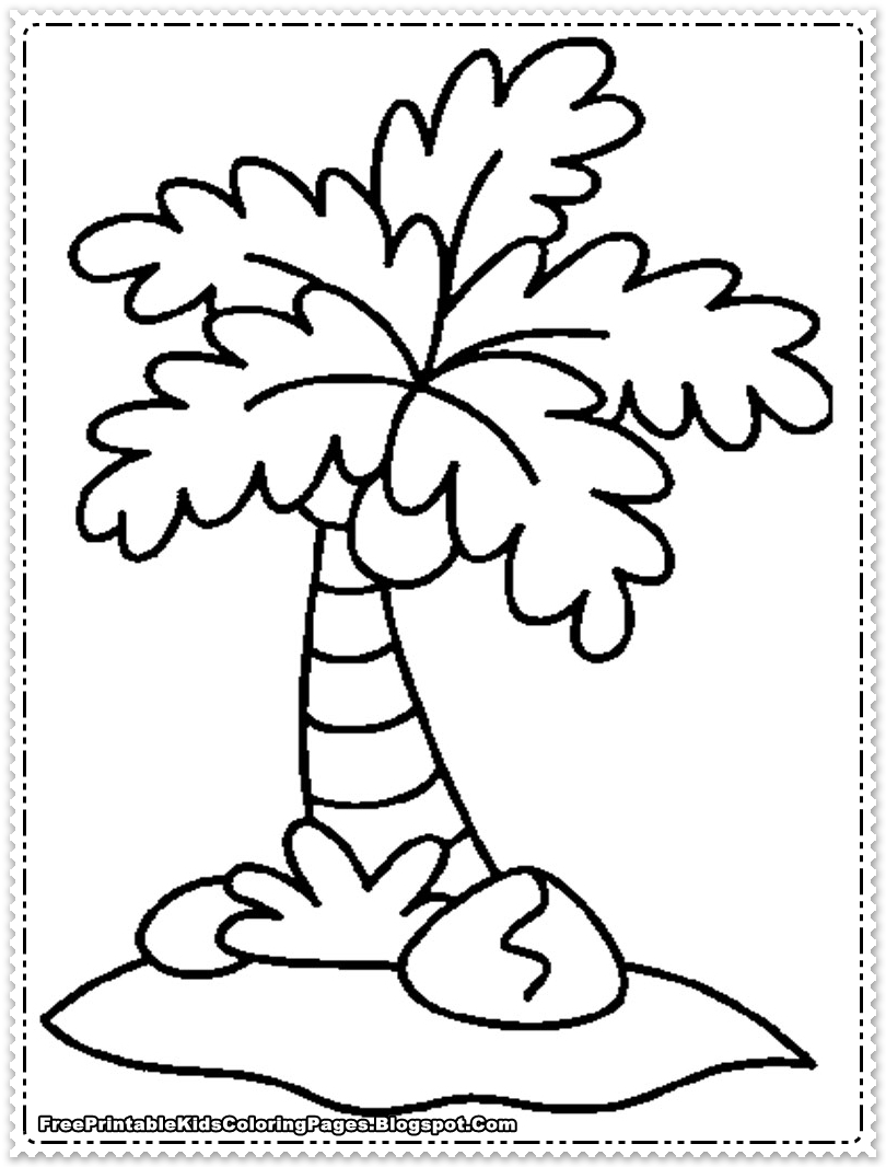 Free coconut tree leaves coloring pages for Printable coconut tree template