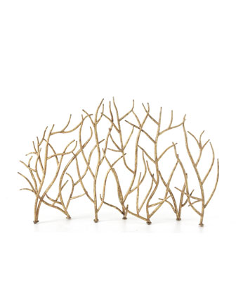 beautiful fireplace screen in freeform gold branches.