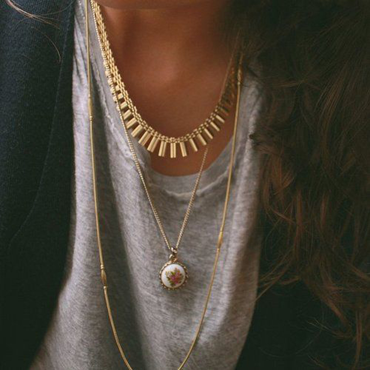 Layered Gold Charm Necklaces