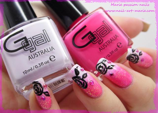 Nail art dégradé coloré et roses noires3