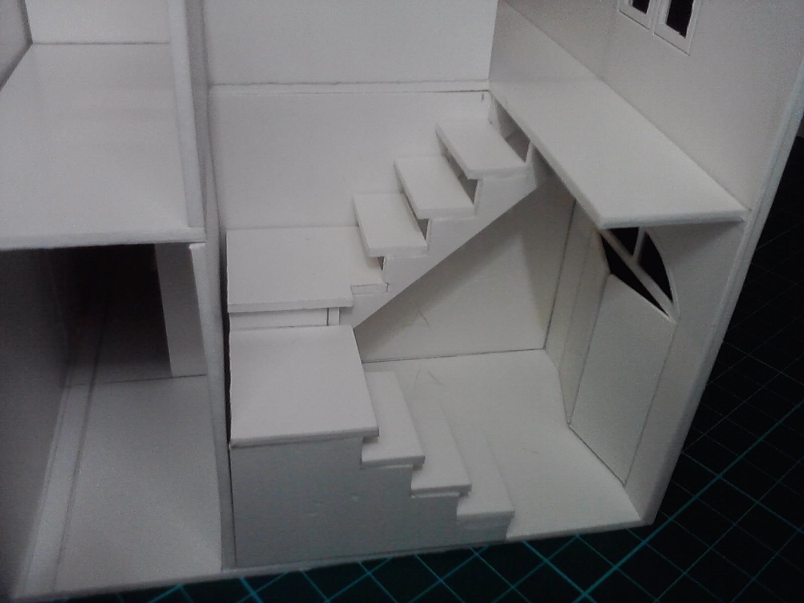 Encobertura escenograf a edificio para miniaturas de 28 - Escalera para buhardilla ...